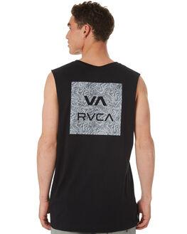 BLACK MENS CLOTHING RVCA SINGLETS - R182010BLK