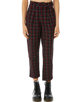 RED TARTAN WOMENS CLOTHING THRILLS PANTS - WTW8-403HRED