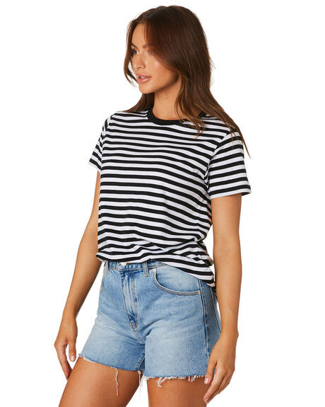 BLACK WHITE WOMENS CLOTHING AS COLOUR TEES - 4037BLKWT