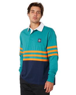 GREEN NAVY ORANGE MENS CLOTHING ADIDAS SHIRTS - DU3924GNO