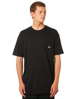 BLACK MENS CLOTHING STUSSY TEES - ST082001BLK