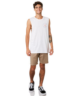 WHITE MENS CLOTHING VOLCOM SINGLETS - A4501918WHT