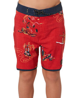 BRIGHT RED KIDS BOYS RIP CURL BOARDSHORTS - KBOVC24851