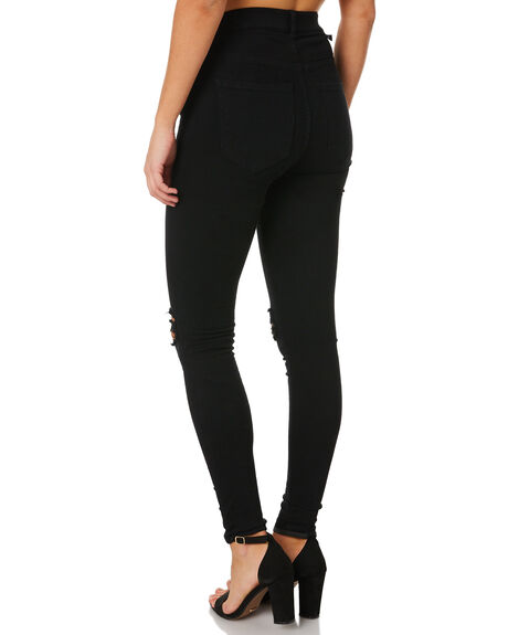 BLACK RIPPED KNEES WOMENS CLOTHING DR DENIM JEANS - 1510112-A03