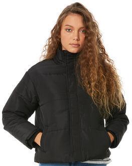 BLACK WOMENS CLOTHING RVCA JACKETS - R283436BLK