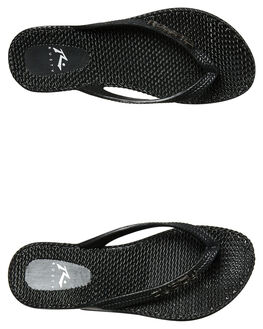 BLACK SOLID WOMENS FOOTWEAR RUSTY THONGS - FOL0125BS3