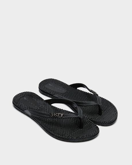 BLACK SOLID WOMENS FOOTWEAR RUSTY THONGS - FOL0125BS3