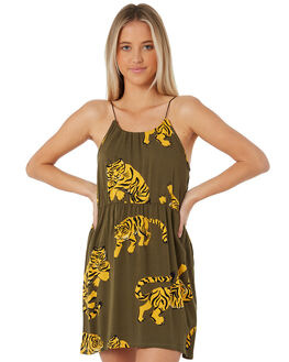 OLIVE CANVAS OUTLET WOMENS HURLEY DRESSES - AR4254-395