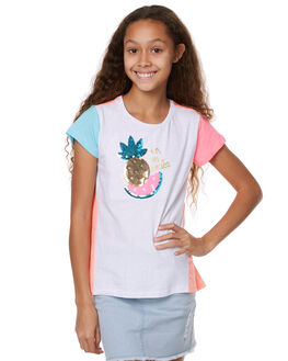 WHITE AND NEON KIDS GIRLS EVES SISTER TEES - 9900023WHT