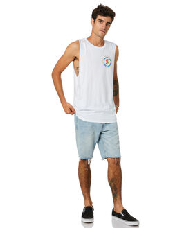 WHITE MENS CLOTHING THE LOBSTER SHANTY SINGLETS - LBSTUBELMWHT