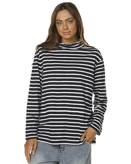 NAVY WHITE STRIPE WOMENS CLOTHING THE BARE ROAD FASHION TOPS - 02-TBR-11NVYWT