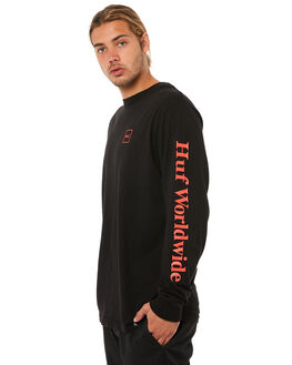 BLACK RED MENS CLOTHING HUF TEES - TS00146BLK