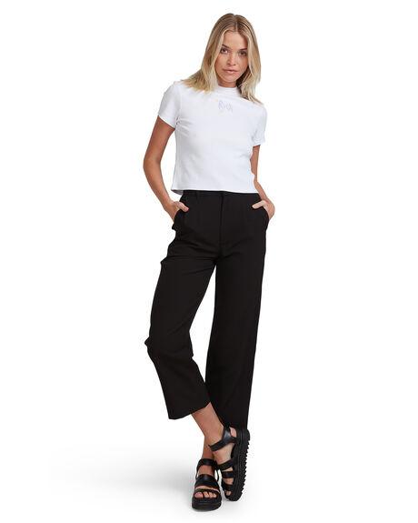 ANTIQUE WHITE WOMENS CLOTHING RVCA TEES - R215702-AWT