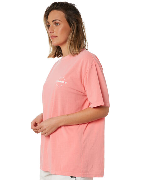 HOT CORAL WOMENS CLOTHING STUSSY TEES - ST102007HTCRL