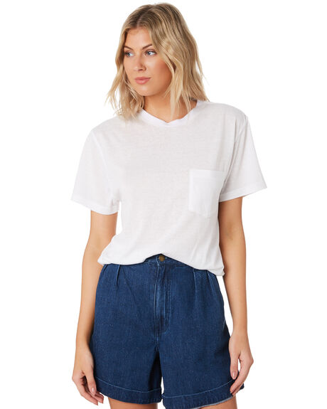 WHITE OUTLET WOMENS ROLLAS TEES - 13201WHI