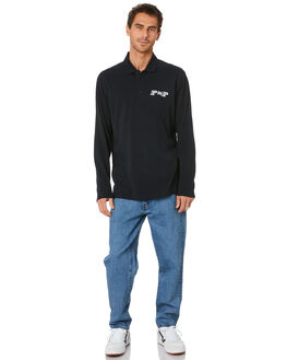 BLACK MENS CLOTHING PASS PORT SHIRTS - PPPPPPOLOBLK