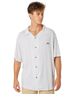 WHITE BLUE MENS CLOTHING STUSSY SHIRTS - ST083413WHTBL