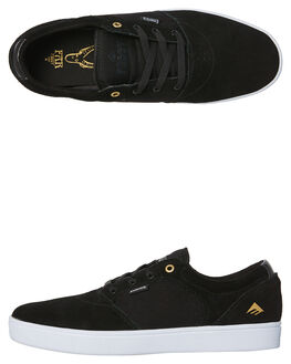 BLACK WHITE GOLD MENS FOOTWEAR EMERICA SKATE SHOES - 6102000123-715
