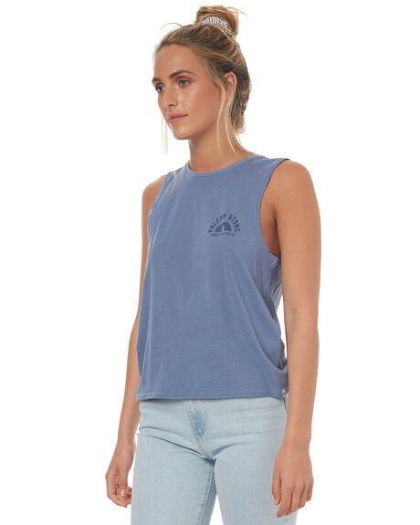 WASHED BLUE WOMENS CLOTHING VOLCOM SINGLETS - B3541780WBLU