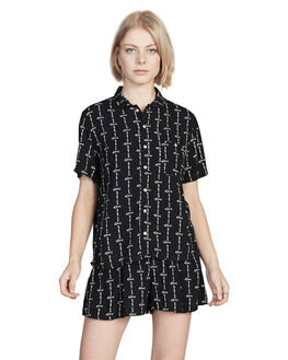 BLACK QUIK BONE WOMENS CLOTHING QUIKSILVER FASHION TOPS - EQWWT03014-KVJ8