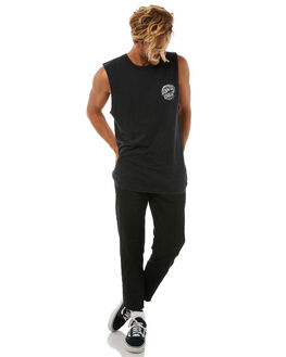 BLACK MENS CLOTHING SANTA CRUZ SINGLETS - SC-MTA8686BLK