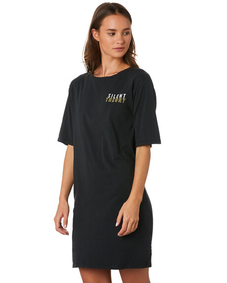 WASHED BLACK WOMENS CLOTHING SILENT THEORY DRESSES - 6033027WBLK