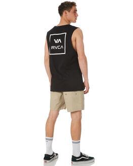 BLACK MENS CLOTHING RVCA SINGLETS - R151012ABLK