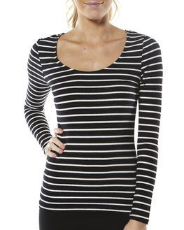 BLACK WHITE STRIPE WOMENS CLOTHING BETTY BASICS TEES - BB210BLKWH