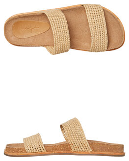 NATURAL RAFFIA WOMENS FOOTWEAR URGE SLIDES - URG19005NRFFA