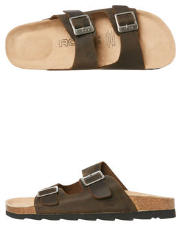 DARK BROWN WOMENS FOOTWEAR ROC BOOTS AUSTRALIA SLIDES - BERMUDADBRN