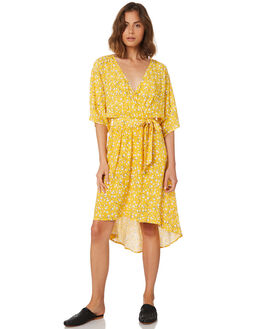 GOLDEN YELLOW OUTLET WOMENS MINKPINK DRESSES - MP18X2453YEL
