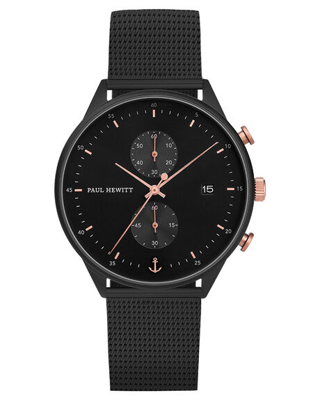 BLACK ROSE GOLD MENS ACCESSORIES PAUL HEWITT WATCHES - PH-C-B-BSR-5MBRGBS