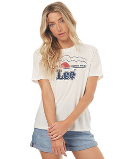 WHITE WOMENS CLOTHING LEE TEES - L-651506-066WHT