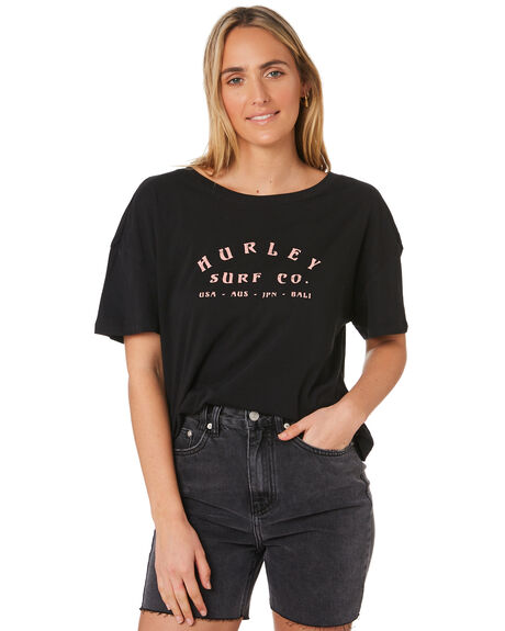 BLACK WOMENS CLOTHING HURLEY TEES - GTSSLOSG010