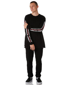 BLACK MENS CLOTHING STUSSY TEES - ST086011BLK