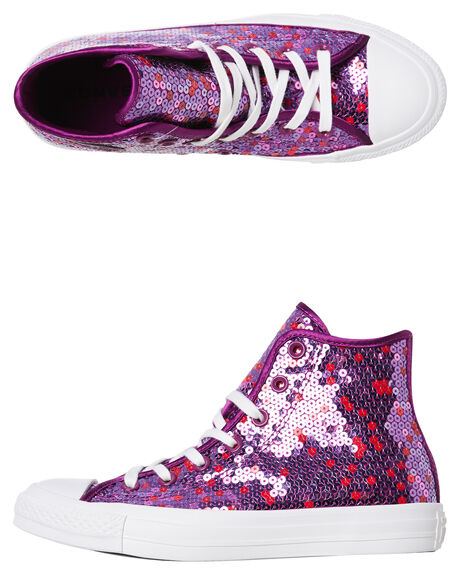 019daa639761 Converse Womens Chuck Taylor All Star Sequined Hi Shoe - Icon Violet ...
