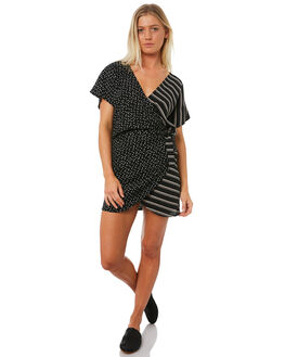 SPOT STRIPE BLACK WOMENS CLOTHING LILYA DRESSES - RD15-PRSS18-SSBL