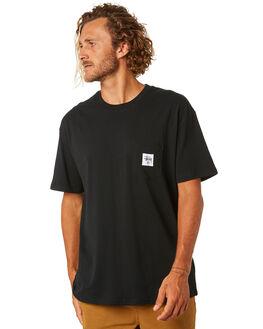 BLACK MENS CLOTHING STUSSY TEES - ST093000BLK