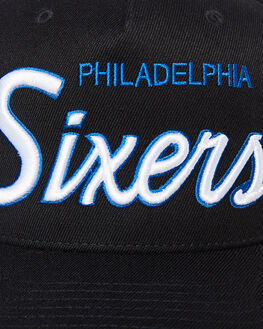 76ERS BLACK MENS ACCESSORIES MITCHELL AND NESS HEADWEAR - MO185637BLK