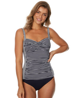 NAVY WHITE WOMENS SWIMWEAR SEA LEVEL BY NIPTUCK BIKINI TOPS - SL3027PSNVYWT