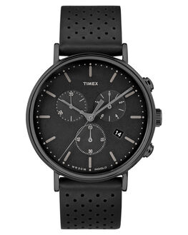BLACK BLACK LEATHER MENS ACCESSORIES TIMEX WATCHES - TW2R26800BLK