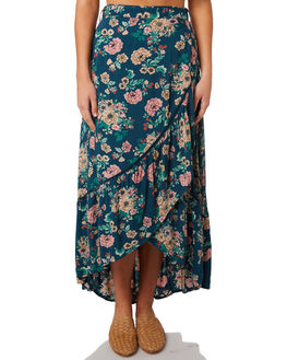 TEAL POSY WOMENS CLOTHING O'NEILL SKIRTS - 4821103TPY