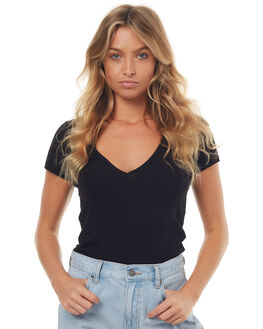 BLACK WOMENS CLOTHING ALL ABOUT EVE TEES - 6491011BLACK