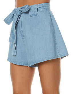 LIGHT WASHED DENIM WOMENS CLOTHING THE FIFTH LABEL SHORTS - TX170432PLWD