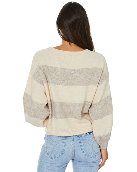 OATMEAL STRIPE WOMENS CLOTHING TIGERLILY KNITS + CARDIGANS - T613130C02