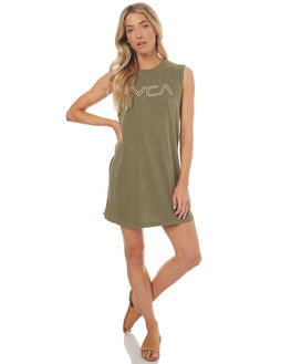 OLIVE GREEN WOMENS CLOTHING RVCA DRESSES - R272760AO54
