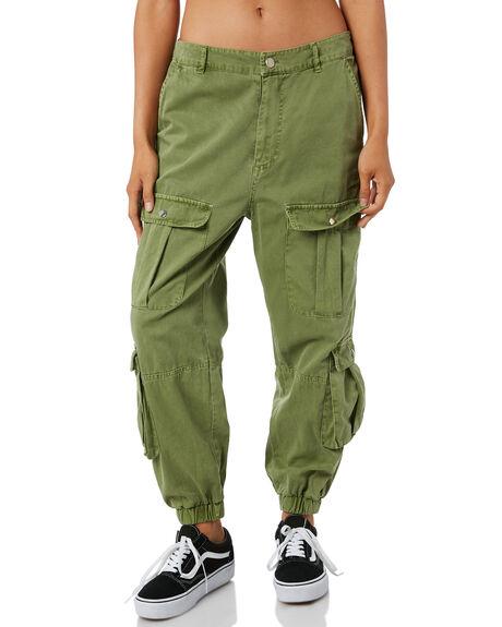 KHAKI WOMENS CLOTHING STUSSY PANTS - ST195620KHK