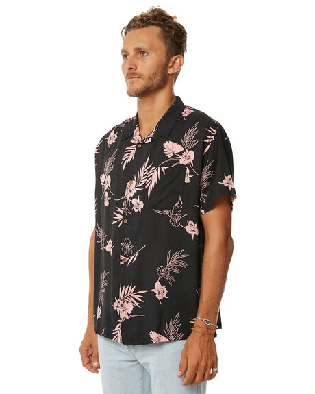 BLACK MENS CLOTHING STUSSY SHIRTS - ST073400BLK