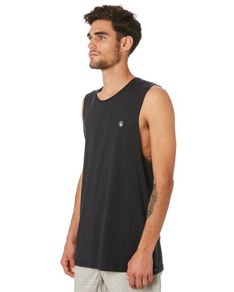 BLACK MENS CLOTHING VOLCOM SINGLETS - A3731624BLK