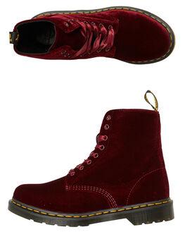 RED CHERRY VELVET WOMENS FOOTWEAR DR. MARTENS BOOTS - SS24329001REDCVW